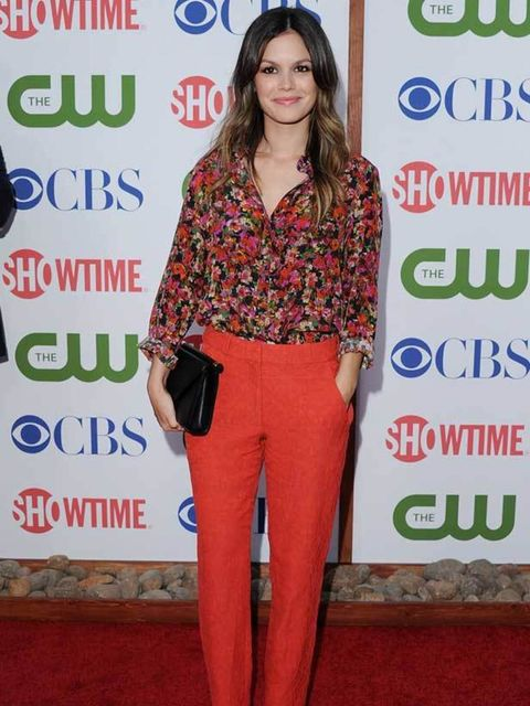 """<p><a href=""""http://www.elleuk.com/starstyle/style-files/(section)/Rachel-Bilson"""">Rachel Bilson</a> mixing feminine florals with tailored trousers and <a href=""""http://www.elleuk.com/fashion/editor-s-picks/leopard-print"""">leopard print</a> shoes</p>"""