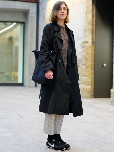 <p>Alice, 21, student. Bamford jacket Bamford, Calvin Klein dress, vintage trousers, Nike trainers, Martin Margiela bag.</p><p>Photo by Silvia Olsen @AntheaSimms</p>