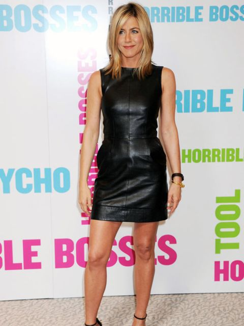 "<p><a href=""http://www.elleuk.com/starstyle/style-files/(section)/jennifer-aniston"">Jennifer Aniston</a> wowing in a black lether shift while in London, July 2011</p>"