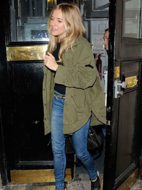 "<p><a href=""http://www.elleuk.com/starstyle/style-files/(section)/Sienna-Miller"">Sienna Miller</a> adds a functional edge to her eveningwear by pairing a parka with on-trend <a href=""http://www.elleuk.com/fashion/6-of-the-best/wedge-platform-sandals"">wedg"