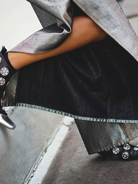 Denim trousers, £360, KEJI. Leather boots, £995, Loewe