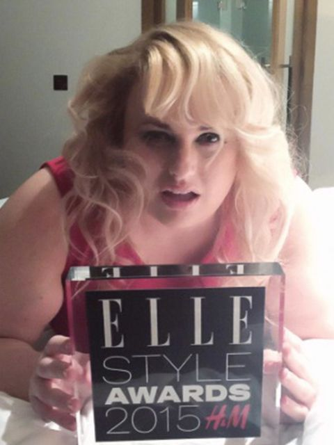 Rebel Wilson (@@RebelWilson)  'Thank you so much to Jennifer Saunders & ELLE for presenting me with the Model of the Year Award tonight in London x '