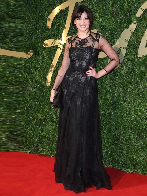 <p>Daisy Lowe arrives at the British Fashion Awards, December 2013.</p>