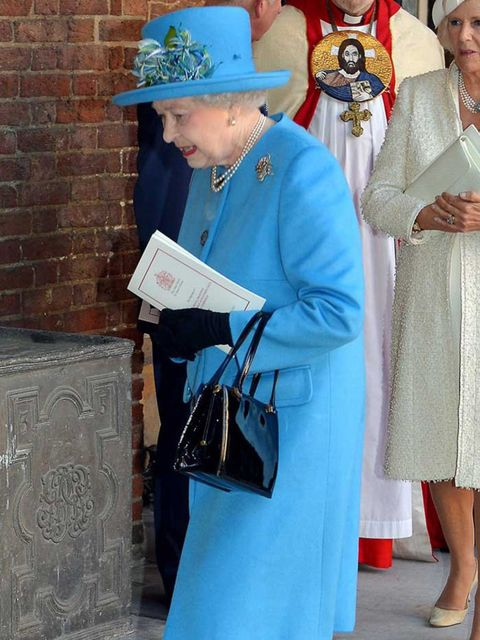 <p>Queen Elizabeth II at the christening of Prince George, October 2013.</p>