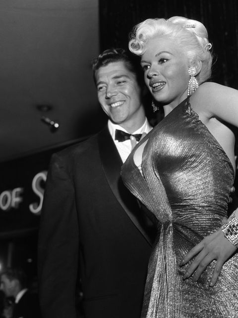 Actress, nightclub entertainer and singer Jayne Mansfield was a great advocate of the tightly fitting draped fabrics that later became sheerer and sheerer as The Naked Dress evolved. (1955)