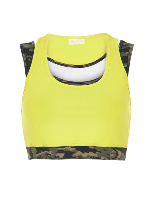 "<p><a href=""http://www.riverisland.com/women/tops/crop-tops--bralets/ri-active-yellow-camouflage-print-bra-top-684720"" target=""_blank"">RI Actiove crop top</a>, £22</p>"
