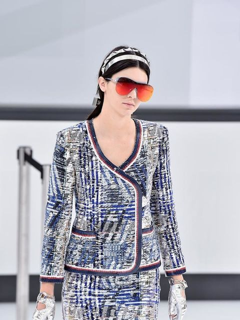 Kendall Jenner on the Chanel catwalk during Paris Fashion Week, September 2015