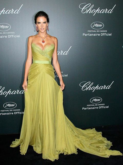 Alessandra Ambrosio wore Elie Saab to the Chopard Gala part of 67th Cannes Film Festival, May 2014.