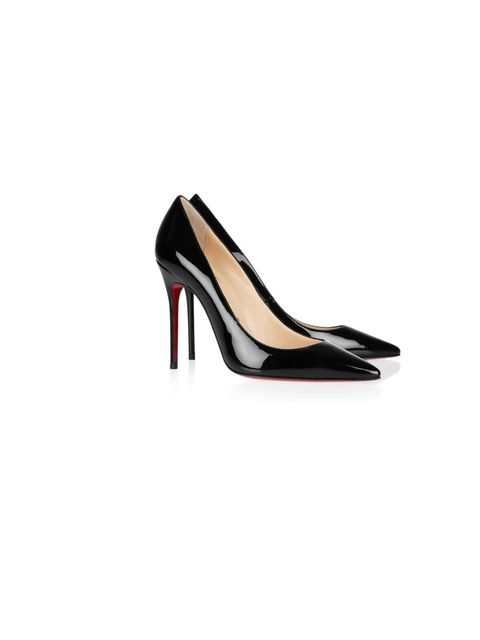 <p>Christian Louboutin 'Decollete' patent-leather pumps, £395, For stockists call 0207 491 0033</p>