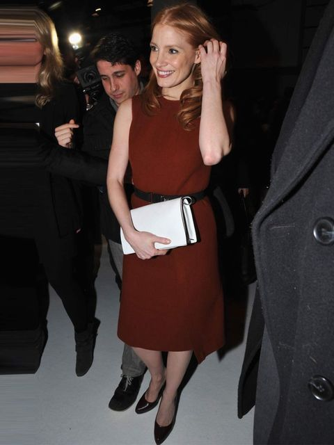 "<p><a href=""http://www.elleuk.com/star-style/celebrity-style-files/jessica-chastain"">Jessica Chastain</a> in a maroon dress at the <a href=""http://www.elleuk.com/catwalk/designer-a-z/calvin-klein-collection/autumn-winter-2013/collection"">Calvin Klein Autu"