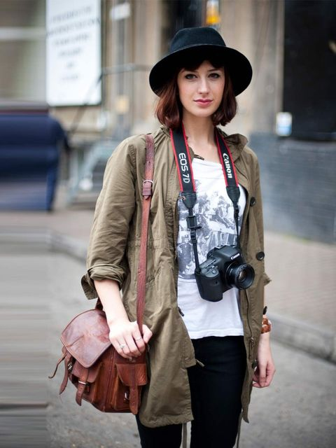 <p>Connie, 25. Uniqlo jacket, Topshop t-shirt and jeans, vintage hat and bag, Trivia watch.</p>