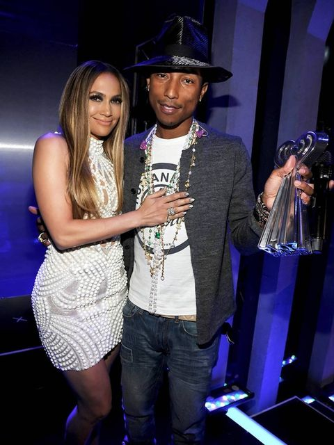 <p>Jennifer Lopez and Pharrell Williams at the 2014 iHeartRadio Music Awards held at The Shrine Auditorium, LA.</p>