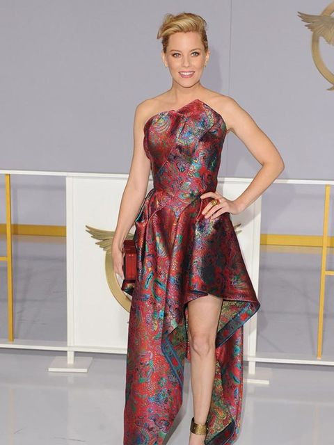 Elizabeth Banks wore Leonard Fall 2014 gown to The Hunger Games: Mockingjay Part 1 premiere in LA, November 2014.