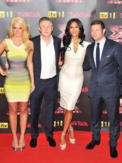<p>The X Factor judges - Tulisa Contostavlos, Louis Walsh and Nicole Scherzinger (joined by host, Dermot O'Leary)</p>