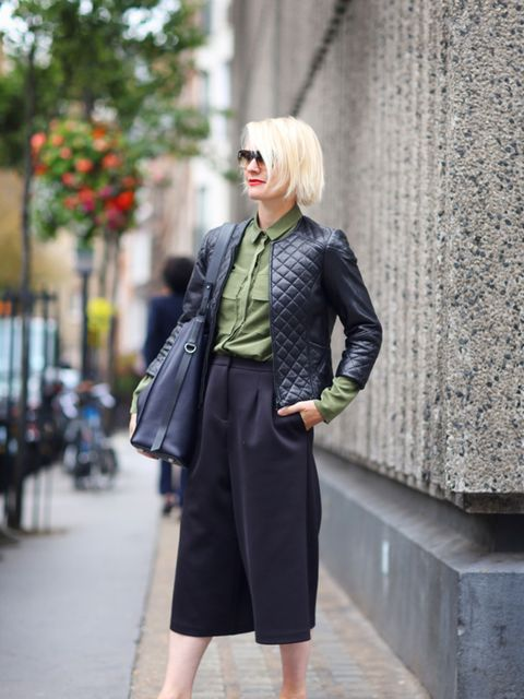 Lorraine Candy – Editor-in-Chief  Harrods own label jacket, Finery shirt, Topshop culottes, Jimmy Choo shoes, All Saints bag, Bobbi Brown sunglasses and Yves Saint Laurent makeup.
