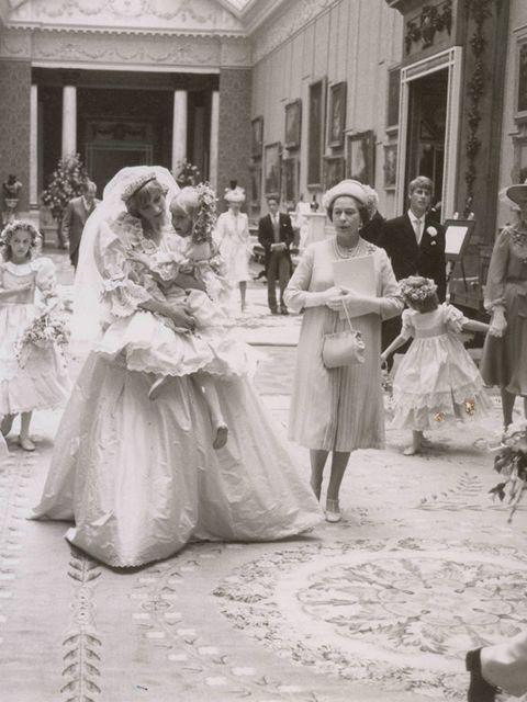 Princess Diana carries Hambro alongside Queen Elizabeth&#x3B; Princess Margaret's daughter, Sarah Armstrong Jones, walks behind them