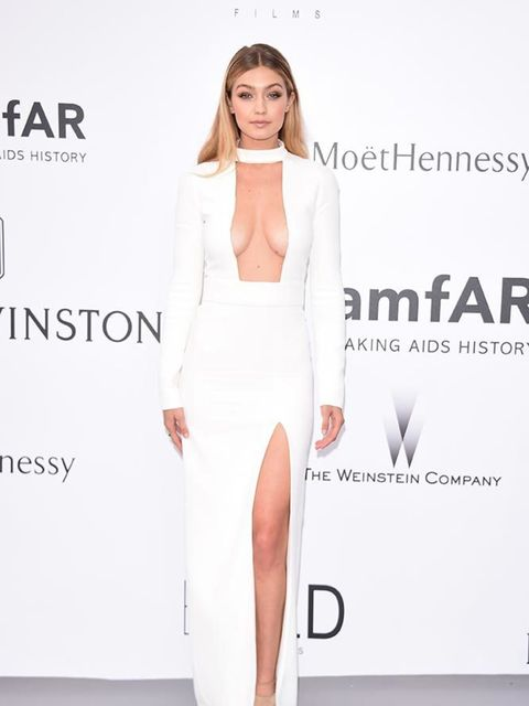 <p>Gigi Hadid in Tom Ford and Aquazzura shoes at amfAR's 22nd Cinema Against AIDS Gala, presented by Bold Films and Harry Winston at the Cannes Film Festival, May 2015.</p>