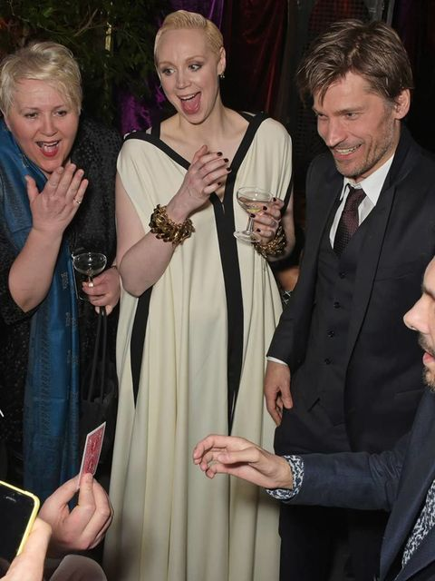 Giles Deacon, Gwendoline Christie, Nikolaj Coster-Waldau and Dynamo attend the 'Game Of Thrones: Season 5' UK Premiere After Party at the Tower of London, March 2015.