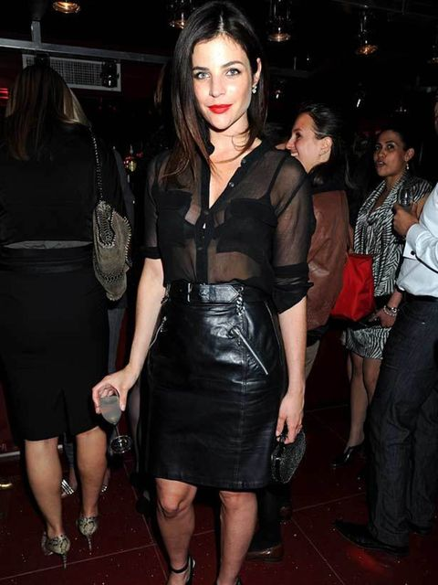 """<p><a href=""""http://www.elleuk.com/starstyle/style-files/(section)/julia-restoin-roitfeld"""">Julia Restoin-Roitfeld</a> teams her leather skirt with a sheer blouse at the launch of Le Crazy Horse at Supperclub, in London, 24 May 2011</p>"""