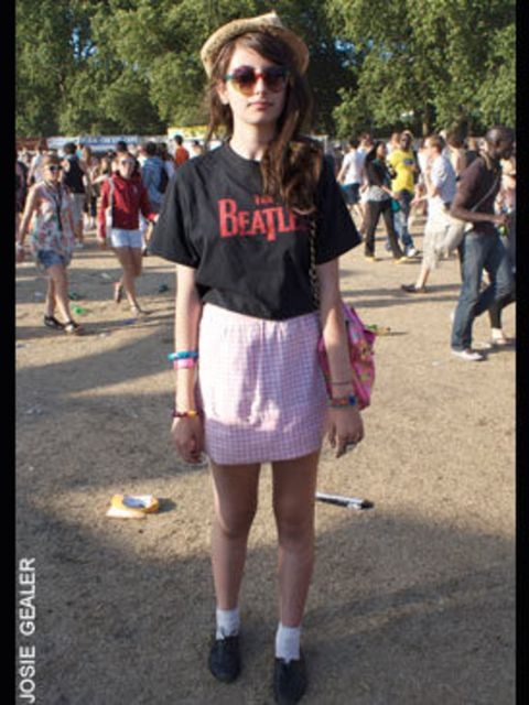 <p>Debi Stylinaivs made the skirt herself, the band tshirt is vintage and her accessories are by Topshop</p>