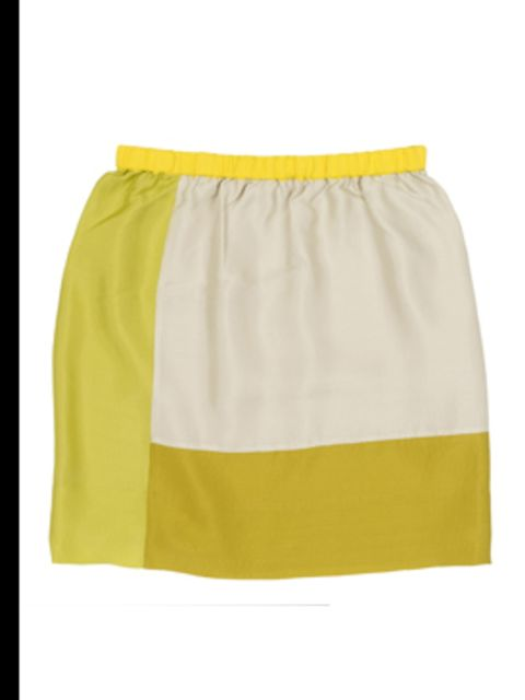 <p>Yellow and cream skirt, £55, by Cos. For stockists call 0207 478 0400</p>