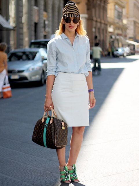 <p>Tiany, www.belmodo.tv. Uniqlo blouse, Cos skirt, Peter Pilotto shoes, Burberry hat, Louis Vuitton bag.</p><p>Photo by Alessia Landi</p>