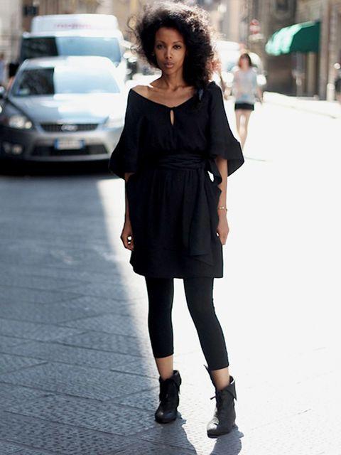 <p>Naznet. Cos dress, H&M leggings, Topshop shoes.</p><p>Photo by Alessia Landi</p>