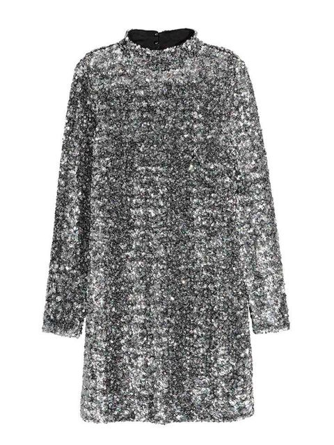 """<p>Toughen up a sequin dress with black tights and flat black Chelsea boots.</p>  <p>Dress, £79.99, <a href=""""http://www2.hm.com/en_gb/productpage.0350232001.html"""" target=""""_blank"""">H&M</a></p>"""