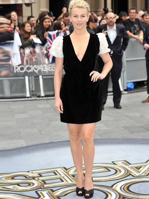 "<p>Julianne Hough in a <a href=""http://www.elleuk.com/catwalk/designer-a-z/valentino/autumn-winter-2012"">Valentino</a> dress and Casadei heels, at the London premiere of 'Rock of Ages'</p>"