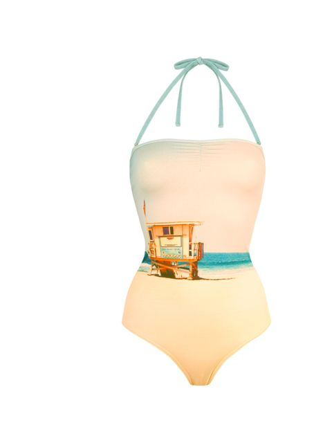 <p>If you really want to make a splash pool-side then opt for picture printed swimwear like this divine David Hockney-esque one-piece… Albertine halterneck swimsuit, £169, at Fenwick, for stockists call 0207 629 9161</p>