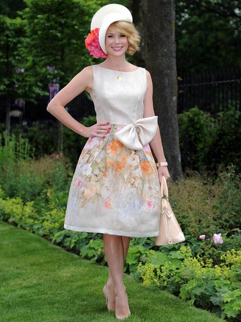 <p>Amanda Holden wearing a DeDe Valentine hat at the Royal Ascot 2012</p>