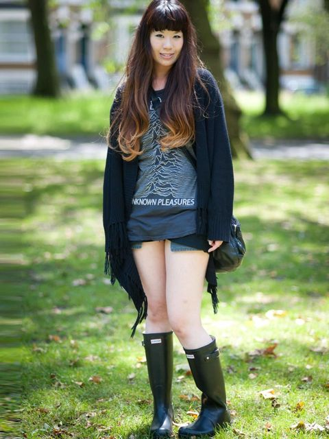 <p>Yuki Kimara, 26, Waitress. Topshop cardigan, Prezzy t-shirt, vintage shorts, Hunters boots, mother's bag.</p><p>Photo by Stephanie Sian Smith</p>