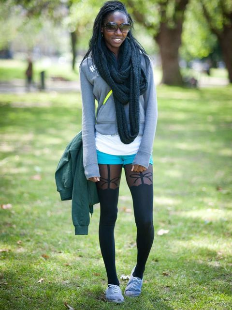 <p>Chante Halliday, 21, Student. Hollister hoodie, Primark shorts, tights and shoes, Republic scarf.</p><p>Photo by Stephanie Sian Smith</p>