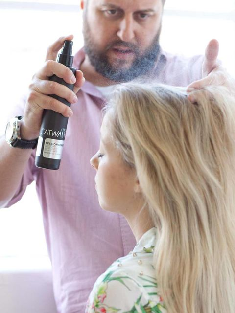 <p>Onto dry hair spritz a light mist of Catwalk by TIGI Session Series Salt Spray (£13.95) to give the hair guts. It will also bring out the natural texture in your hair. (If you're styling the hair from wet, use mousse on the hair before drying in with y