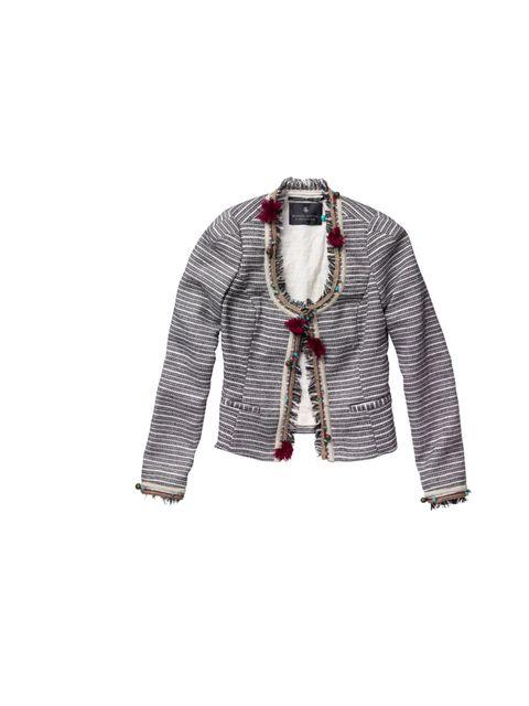 "<p><a href=""http://www.scotch-soda.com/en/collection/campaign/category/women"">Maison Scotch</a> embroidered boucle jacket, £195</p>"