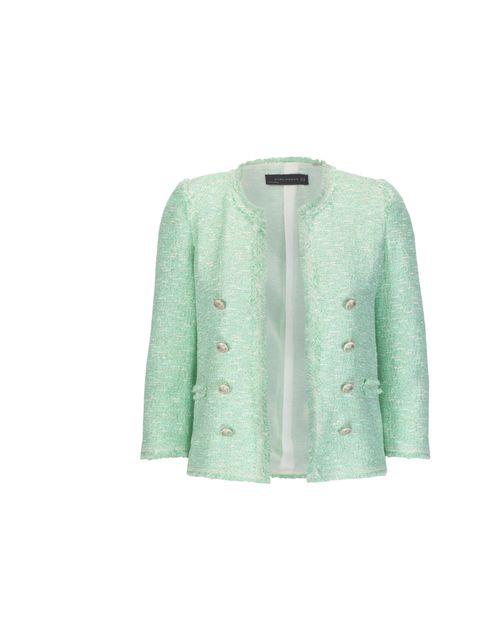 "<p><a href=""http://www.zara.com/webapp/wcs/stores/servlet/product/uk/en/zara-S2012/189502/801507/FANTASY%2BBLAZER"">Zara</a> mint boucle jacket, £79.99</p>"