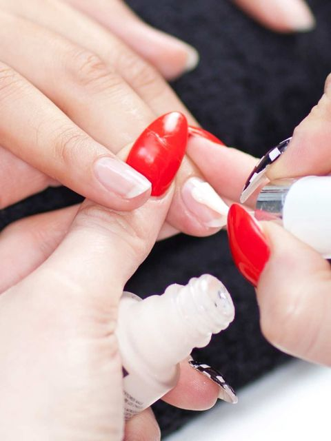 <p>Start with your basecoat, this will help your nail enamel adhere to the nail plate and prevent any staining.</p>