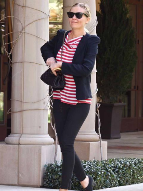 """<p><a href=""""http://www.elleuk.com/starstyle/style-files/(section)/kirsten-dunst"""">Kirsten Dunst</a> teaming a Breton stripe top with a lightweight blazer, March 2011</p>"""