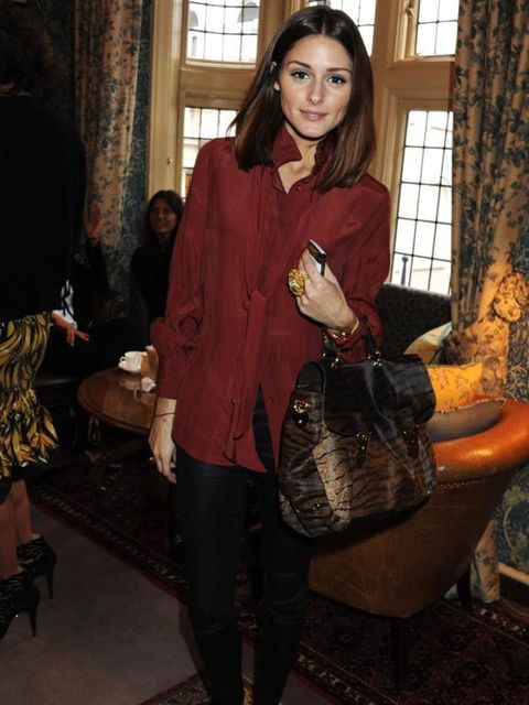 """<p><a href=""""http://www.elleuk.com/starstyle/style-files/%28section%29/olivia-palermo"""">Olivia Palermo</a> wearing a red Mango blouse with <a href=""""http://www.elleuk.com/news/Fashion-News/charlotte-olympia-s-brand-new-store"""">Charlotte Olympia</a> leopard pr"""
