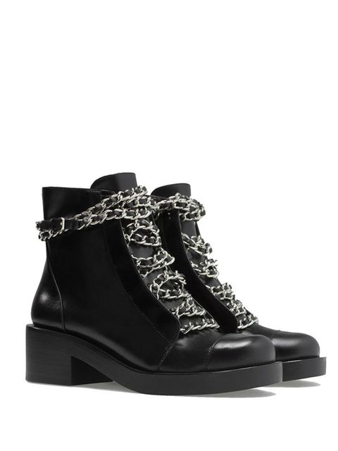 "<p><a href=""http://www.zara.com/uk/en/woman/shoes/ankle-boots/leather-lace-up-booties-with-chains-c288001p2072559.html"">Zara</a> £89.99</p>  <p> </p>  <p> </p>  <p> </p>"