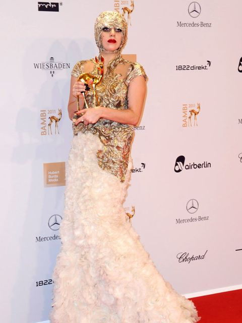 "<p><a href=""http://www.elleuk.com/starstyle/style-files/(section)/lady-gaga"">Lady Gaga</a> wore an <a href=""http://www.elleuk.com/catwalk/collections/alexander-mcqueen/"">Alexander McQueen S/S '12</a> gown to the Bambi awards in Germany.</p>"