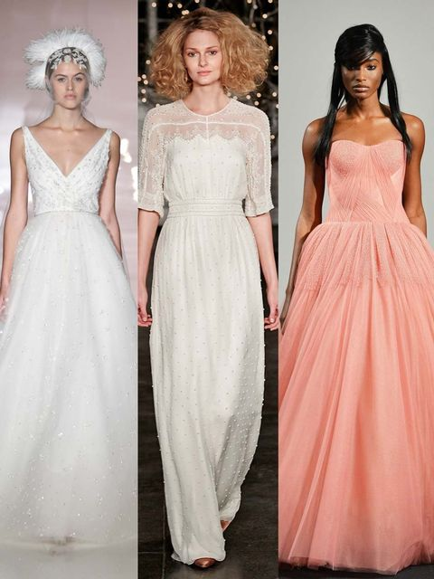 "<p>Beatific offerings of tulle and lace, sweeping, statement ballgowns and simple, luxurious silk: <a href=""http://www.elleuk.com/style/occasions/elle-weddings"">brides</a>,  future or fantasy should look to New York bridal market for inspiration.</p><p>Th"