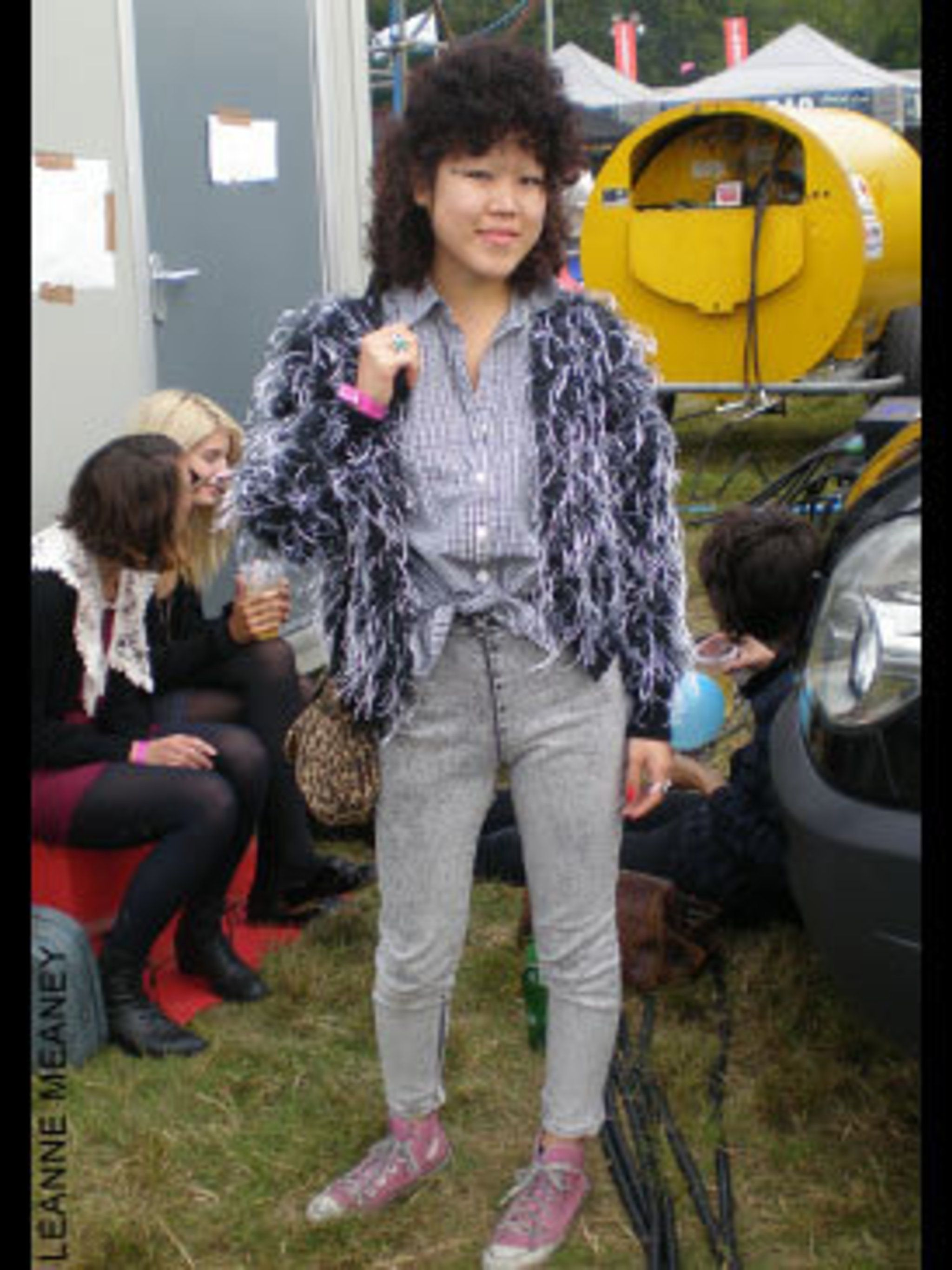 <p>Tommi Tokyo, a 20 year old Singer and Design Assistant for PPQ is wearing a cardigan from Broadway Market and a Vintage shirt and leggings from Tokyo. </p>