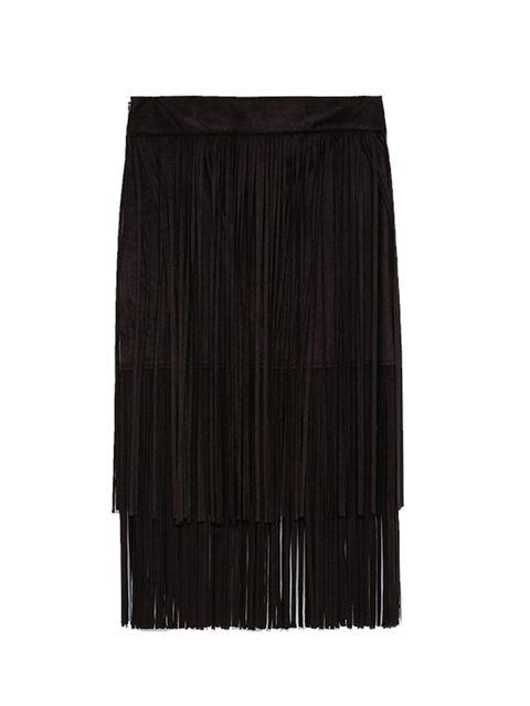 "<p><a href=""http://www.zara.com/uk/en/woman/skirts/view-all/fringed-skirt-c733908p2774612.html"" target=""_blank"">Zara</a> skirt, £39.99</p>"