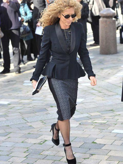 <p>Kelly Hoppen arrives for the Vidal Sassoon memorial service</p>