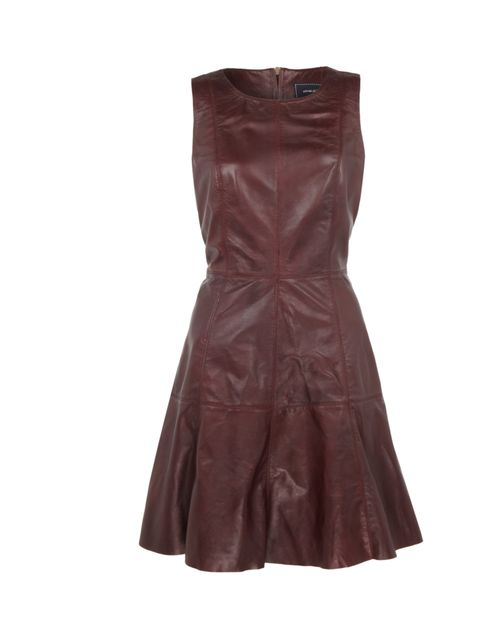 "<p><a href=""http://www.riverisland.com/women/dresses/party--evening-dresses/dark-red-leather-fit-and-flare-dress-620811"">River Island</a> burgundy leather skater dress, £120</p>"