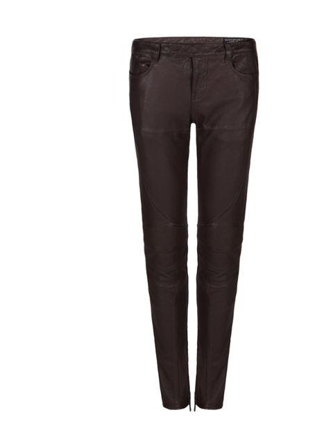 """<p><a href=""""http://www.allsaints.com/women/trousers/allsaints-biker-trouser/?colour=89&category=25"""">All Saints</a> oxblood leather biker trousers, £295</p>"""