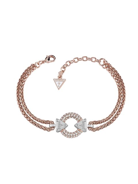 """<p><a href=""""http://www.hsamuel.co.uk/webstore/d/3765350/guess+rose+gold+plated+chain+circle+lock+bracelet/"""" style=""""line-height: 20.8px;"""" target=""""_blank"""">Embrace Me</a>Rose Gold Plated Bracelet, £95</p>"""