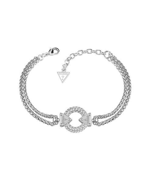 "<p><a href=""http://www.hsamuel.co.uk/webstore/d/3765334/guess+rhodium+plated+chain+circle+lock+bracelet/"" style=""line-height: 20.8px;"" target=""_blank"">Embrace Me</a>Rhodium Bracelet, £95</p>"