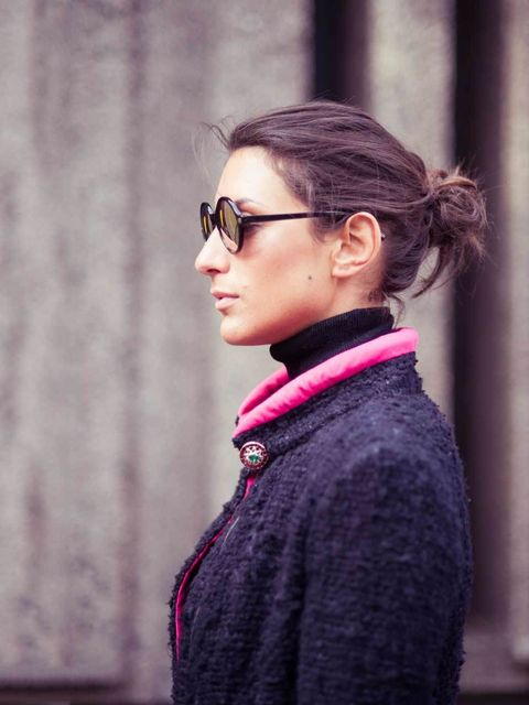 <p>Madeleine Bowden, ELLE Fashion Intern:</p><p>Chanel Little Black Jacket, Uniqlo polo jumper, Sunettes sunglasses</p>